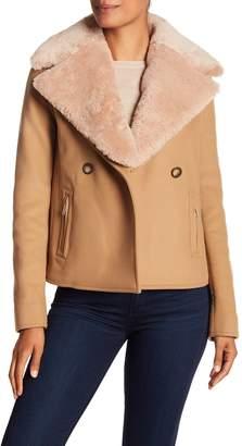 Jason Wu Grey Genuine Shearling Collar Wool Jacket