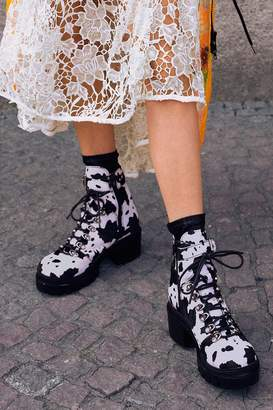 Jeffrey Campbell Printed Check Lace-Up Boot