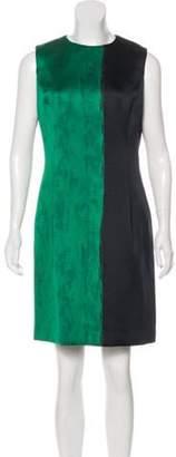 Oscar de la Renta 2018 Colorblock Sheath Dress Green 2018 Colorblock Sheath Dress