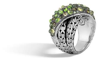 John Hardy Classic Chain Overlap Ring With Mixed Green