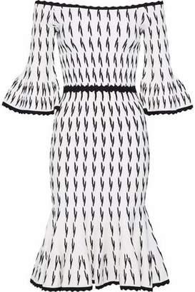 Herve Leger Off-the-shoulder Fluted Jacquard-knit Dress