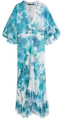 Roberto Cavalli Ruffled Printed Silk Crepe De Chine Maxi Dress