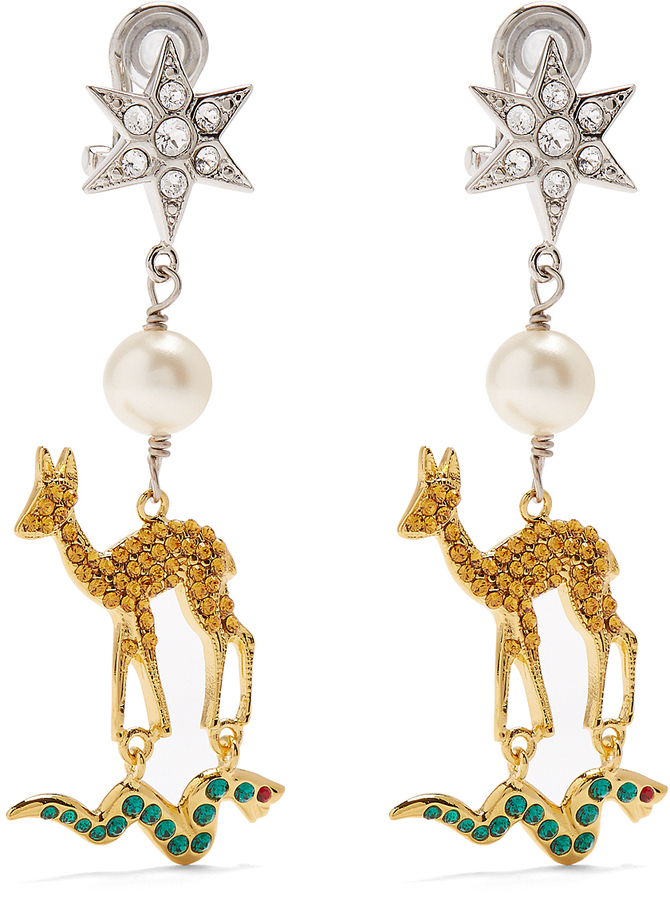 Miu Miu MIU MIU Star, deer and snake clip-on earrings