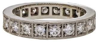Platinum 1.00ct Diamond Eternity Bead Band Ring Size 6