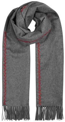 Alexander McQueen Grey Embroidered Cashmere Scarf