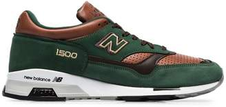 New Balance green and brown M1500 suede leather sneakers