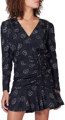 Veronica Beard Anders Floral Silk Ruched Flounce Dress