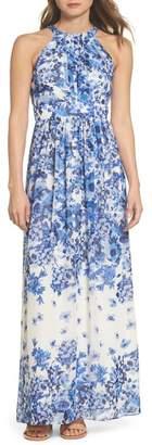 Eliza J Floral Halter Neck Maxi Dress