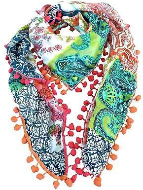 Charli NEW Gigi silk scarf with pompom trim Women's by Bird