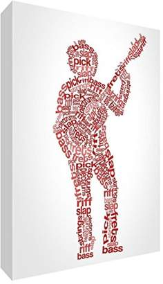 Camilla And Marc Feel Good Art Men's Gift/Keepsake/Memento in Modern and Unique Typographic Male Bassist Design, Red Tones, Large, 14.8 x 21 x 2 cm