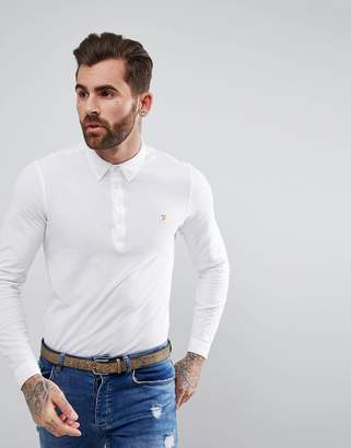 Farah Merriweather Long Sleeve Slim Fit Polo Shirt In White