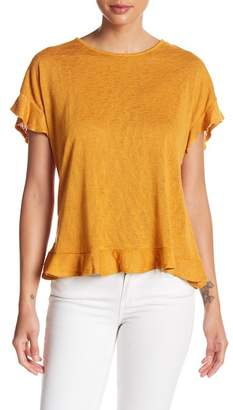Bobeau Cross Back Ruffle Trim Tee