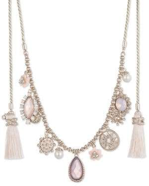 Marchesa Faux Pearl and Crystal Tassel Charm Necklace
