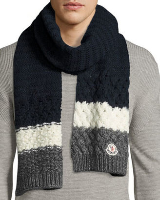Moncler Cashmere Mixed-Knit Scarf, Navy/Red/White $240 thestylecure.com