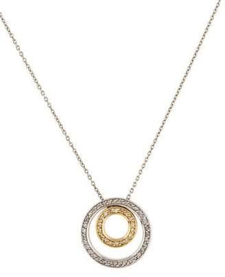 14K Diamond Double Circle Pendant Necklace