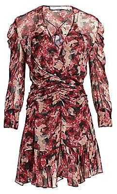 IRO Women's Wick Long-Sleeve Ruched Flounce Dress