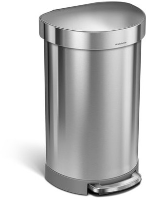 Simplehuman 45 Litre / 12 Gallon Semi-Round Step Trash Can Fingerprint-Proof Brushed Stainless Steel