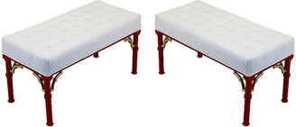 One Kings Lane Vintage Midcentury Coral-Red Benches - Set of 2