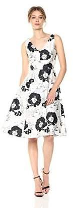 Betsey Johnson Women's Sleeveless fit and Flare Dress, Black/White