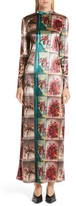 Stella McCartney Vase Print Velvet Maxi Dress