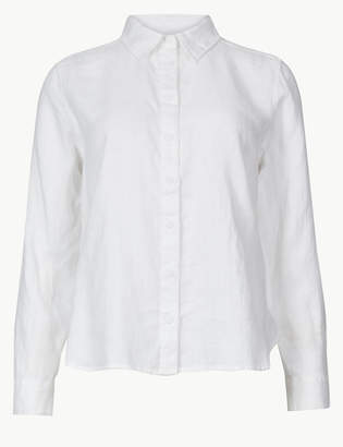 M&S CollectionMarks and Spencer PETITE Pure Linen Button Detailed Shirt