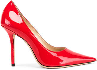 Jimmy Choo Love 100 Patent Leather Heel in Chilli | FWRD