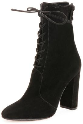 Gianvito Rossi Suede Lace-Up Ankle Boot, Black $712 thestylecure.com