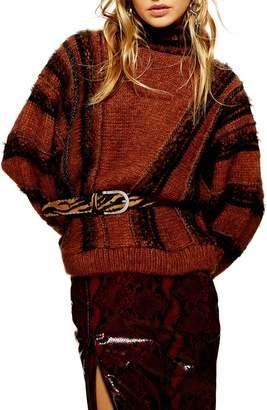 Topshop Metallic Stripe Sweater