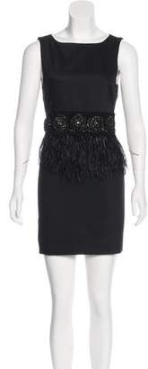 Alice + Olivia Feather-Trimmed Mini Dress