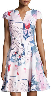 Julia Jordan Cap-Sleeve Floral-Print Fit & Flare Dress, Pink Pattern