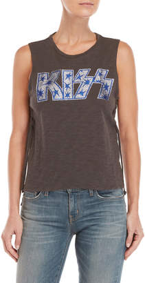Lucky Brand Grey Kiss Lace-Up Side Glitter Graphic Tank Top