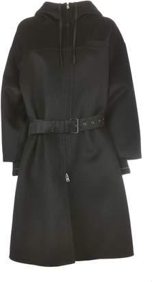 Prada Hooded Belted Coat
