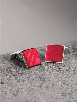 Burberry Check-engraved Square Cufflinks