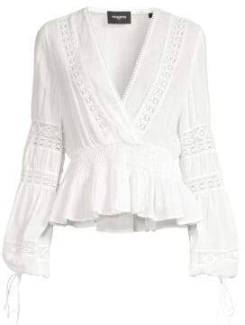 The Kooples Long Sleeve Sheer Lace V-Neck Top