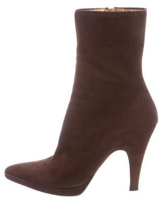 Prada Pointed-Toe Suede Ankle Boots
