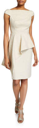 Rickie Freeman For Teri Jon Metallic Jacquard Off-Shoulder Cap-Sleeve Asymmetric Peplum Dress