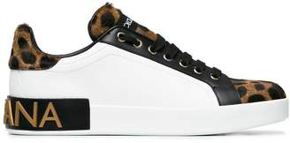 Dolce & Gabbana white leopard leather pony sneakers