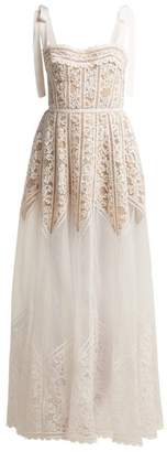 Elie Saab Floral Lace And Polka Dot Tulle Gown - Womens - White