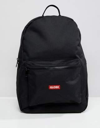Globe Backpack with Logo Pocket Detail in Black