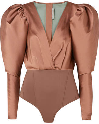 Silvia Tcherassi - Laura Satin-twill And Stretch-jersey Bodysuit - Taupe