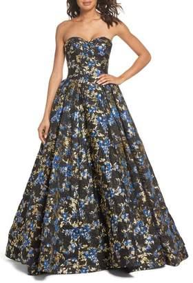Mac Duggal Brocade Bustier Gown