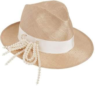 Federica Moretti Fedora Hat W/ Pin & Imitation Pearls
