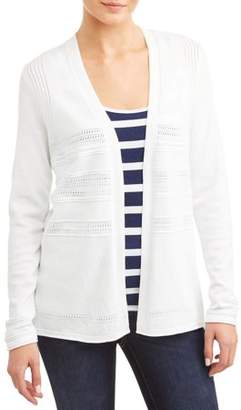 N. Heart Crush Women's Pointelle Detail Long Cardigan