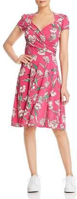 Leota Floral-Print Faux-Wrap Sweetheart Dress