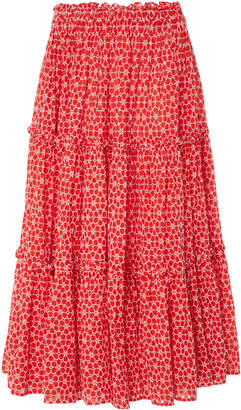 Lisa Marie Fernandez High-Waisted Ruffle Eyelet Peasant Cotton Skirt