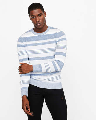 Express Striped Long Sleeve Crew Neck Sweater