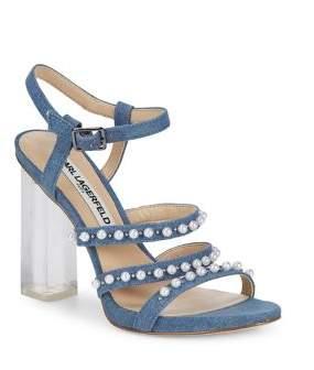 Karl Lagerfeld Paris Lara Denim Faux Pearl Sandals