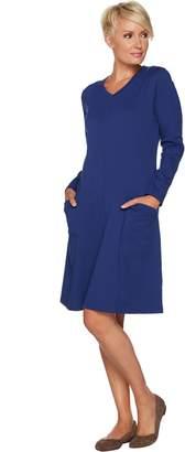 Denim & Co. Regular Long Sleeve Fit and Flare Dress w/ Pocket