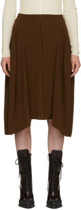 Chloé Brown Satin-Backed Crepe Skirt