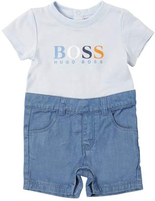 HUGO BOSS Cotton Pique & Stretch Denim Romper
